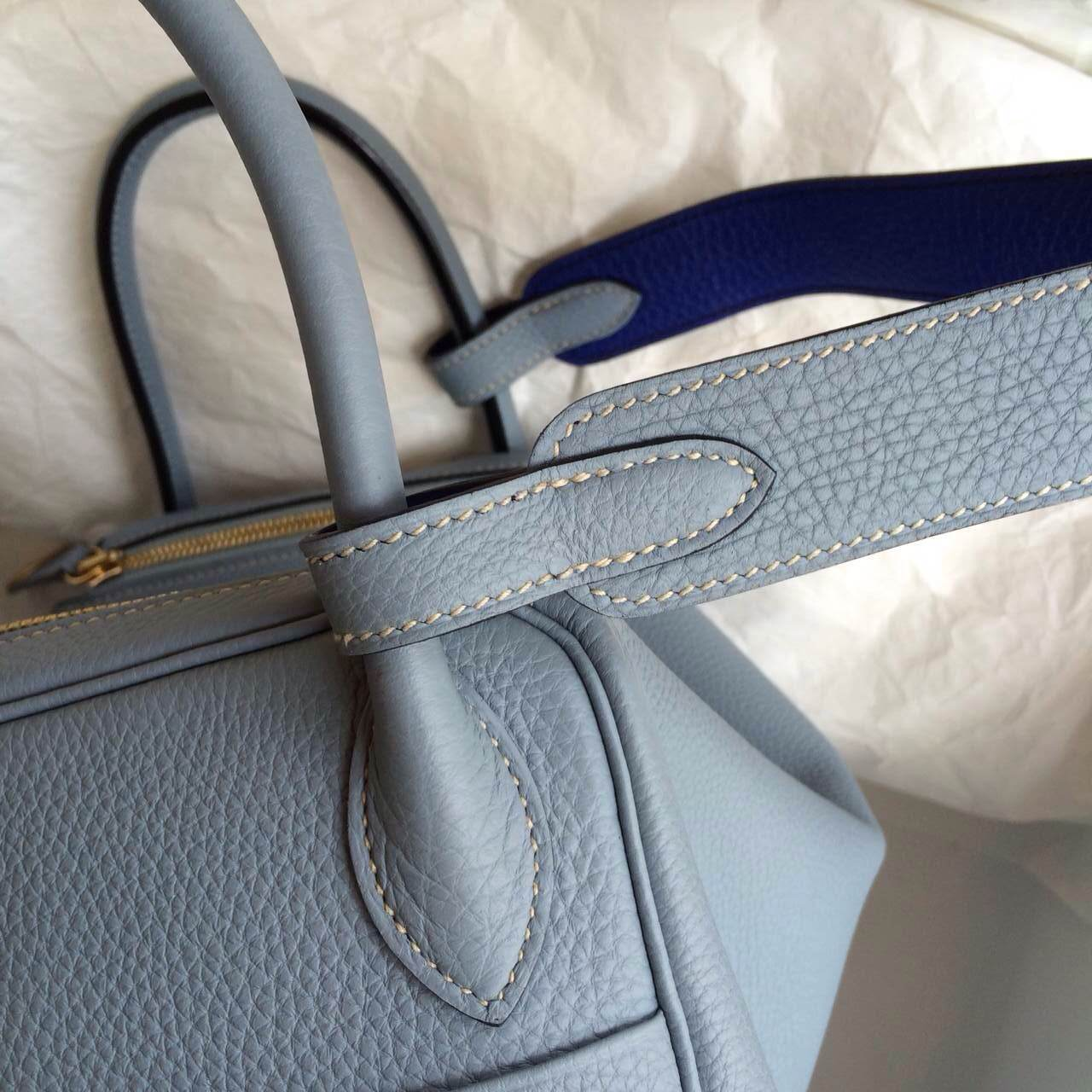 Hand Stitching Hermes Lindy Bag J7 Blue Lin/7T Blue Electric Togo ...