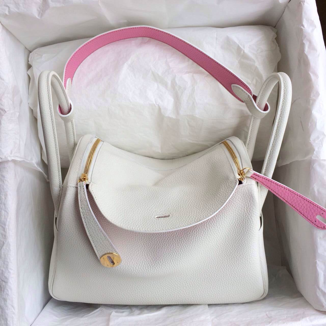 Beautiful Hermes Lindy Bag 30cm White/5P Pink Togo Leather Gold ...