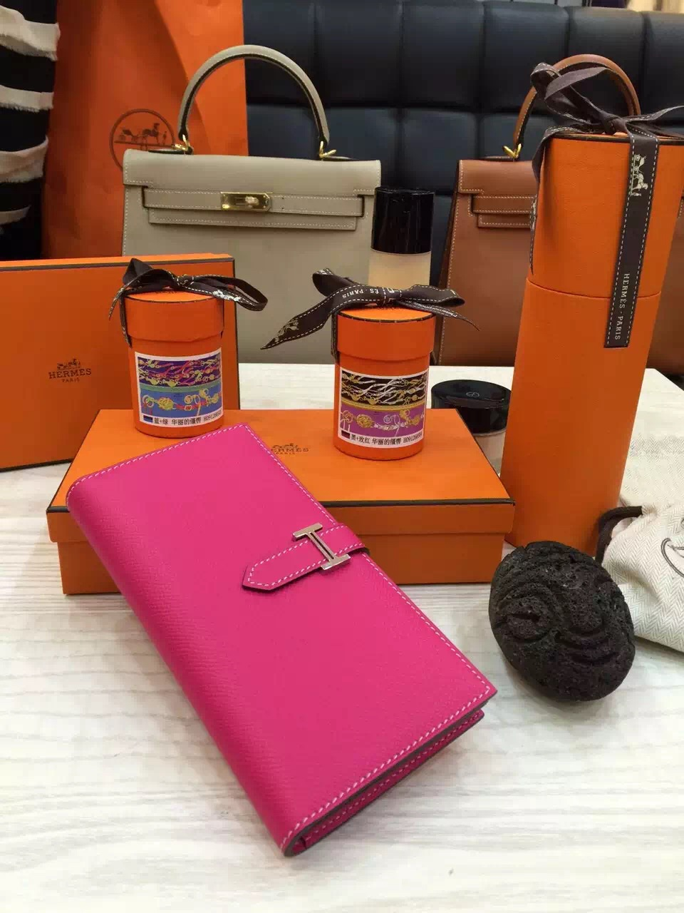 Hand Stitching Hermes Original Epsom Leather Bearn Wallet Purse in Rose  Tyrien ce8a715237bde