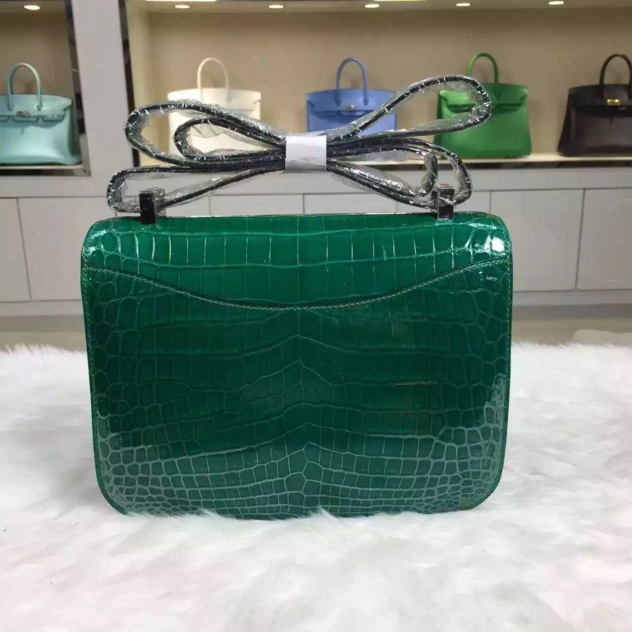 Wholesale Hermes Crocodile Leather Emerald Green Constance Bag24CM ...