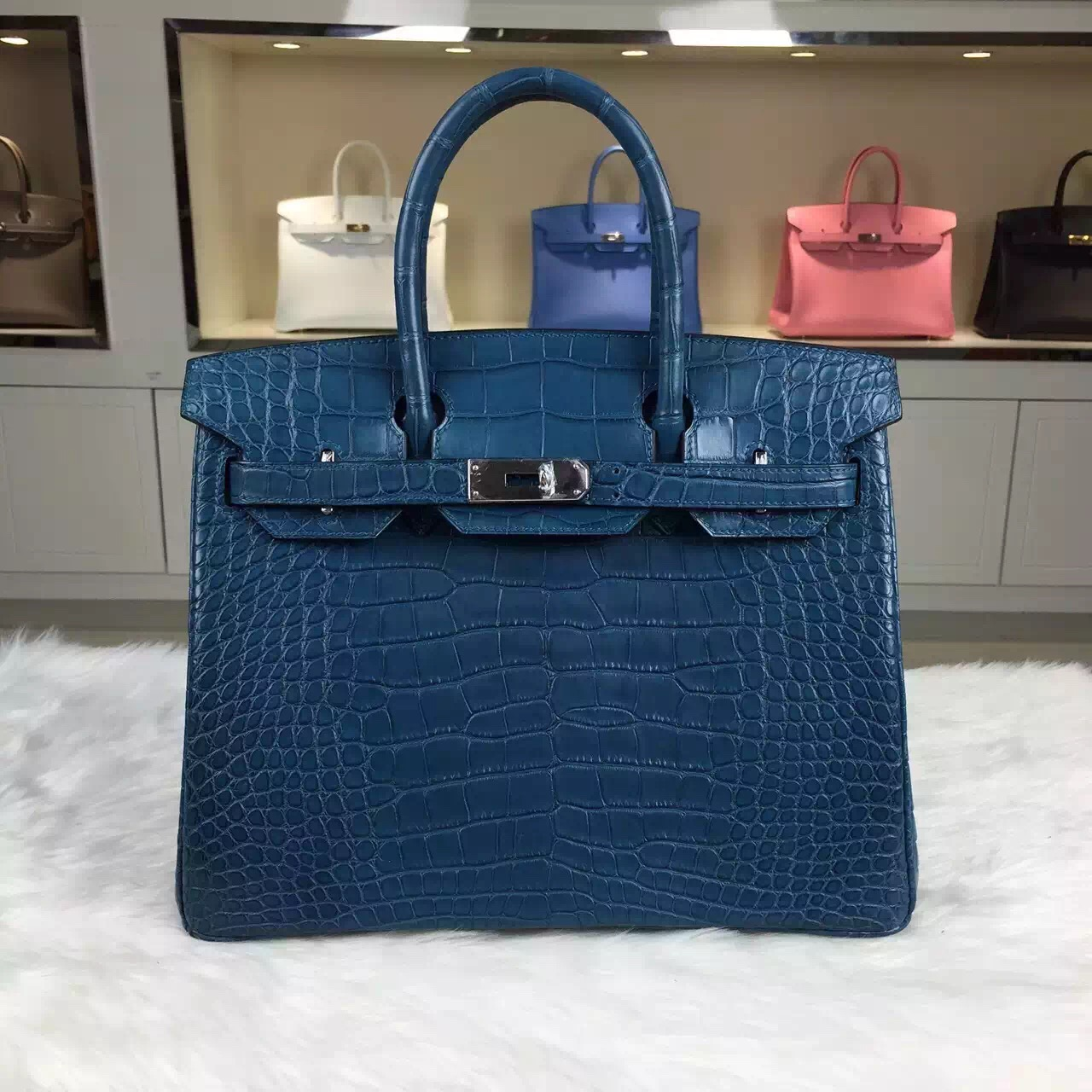 Costom-made Hermes Blue Malta HCP Crocodile Skin Leather Birkin ...