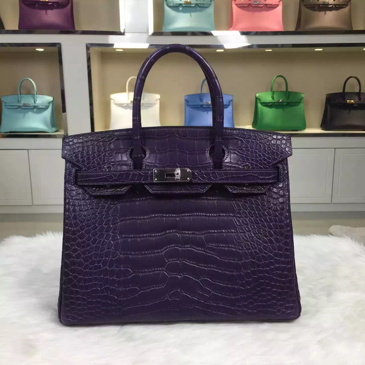c853c8595c66 IMG 8402 IMG 8404 IMG 8405 IMG 8403. Permalink:http   www.birkine.com  wholesale-hermes-black-currant-purple-crocodile-matt-leather-birkin-bag-30cm