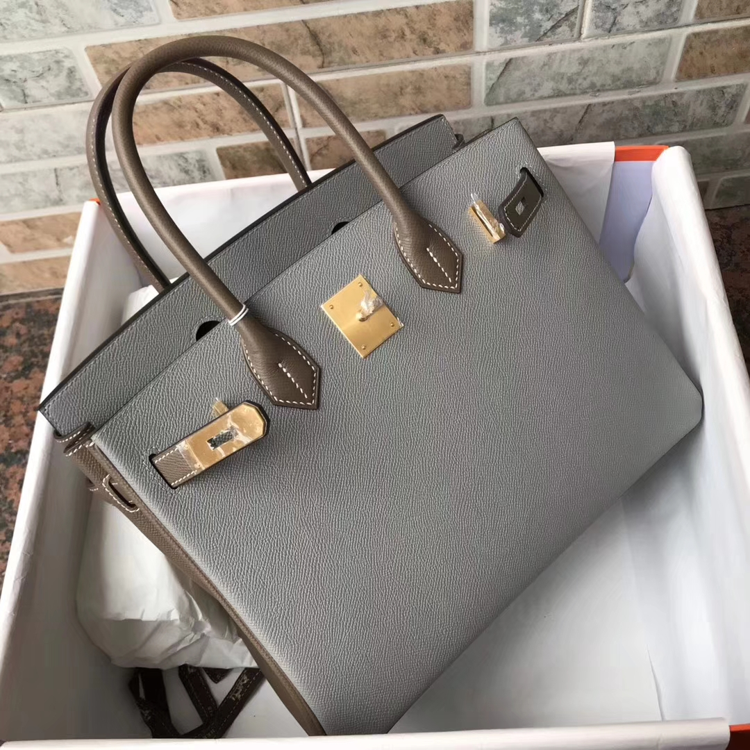 36a425305ec8 Brand  Hermes  Style  Birkin Bag  Material  Epsom Calfskin Leather Color   4Z Gris Mouette   C18 Etoupe Grey  Size 30cm  Hardware Brush  Gold Accessories  ...