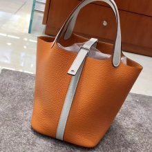 Pretty Hermes Clemence Calf Orange & Gris Pearl Picotin18/22CM Bag Silver Hardware