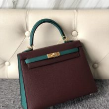 Hermes CK57 Bordeaux/Z6 Vert Malachite Epsom Kelly25cm Bag Bush Gold Hardware