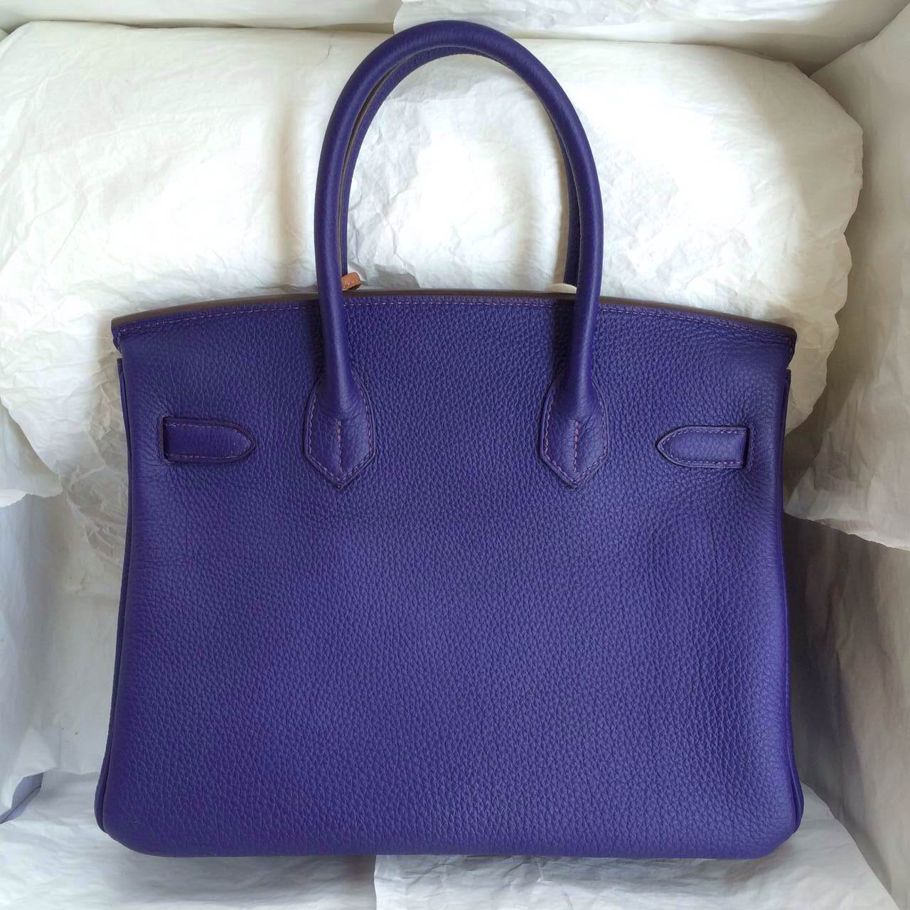 9K Iris Purple Hermes Birkin Handbags 30cm France Togo Leather \u2014 HEMA
