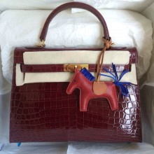 Hand Stitching Wine Red Crocodile Skin Hermes Kelly Bag32cm Sellier