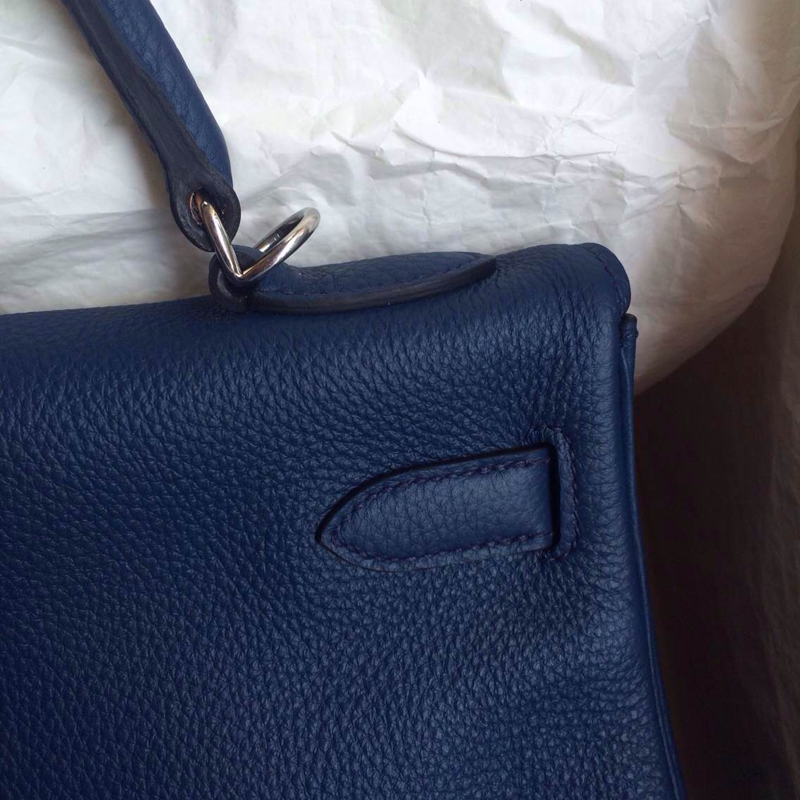 7K Blue Saphir France Togo Leather Hermes Kelly Bag 32cm Retourne ...