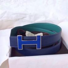 Sale 32mm Width New Blue Electric/Z6 Malachite Swift Leather Enamel Buckle Hermes Belt