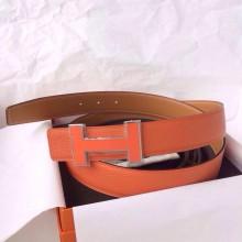 Wholesale Hermes Belt 93 Orange Togo Leather Light Coffee Box Leather 32mm Width