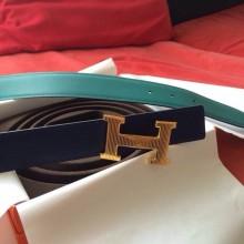 Hermes Two-sided Men's Belt Blue Saphir Epsom Leather/z6 Malachite Swift Leather Striped Buckle