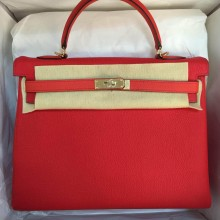 Cheap Hermes Kelly Bag35cm Retourne Q5 Candy Red & 9T Flame Red Togo Calfskin Leather Handbag