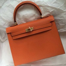 Discount 32cm Orange Epsom Calf Leather Hermes Kelly Bag Sellier Gold Hardware