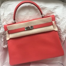 Hand Stitching Hermes Kelly Bag Retourne T5 Rose Jaipure Epsom Leather 32cm