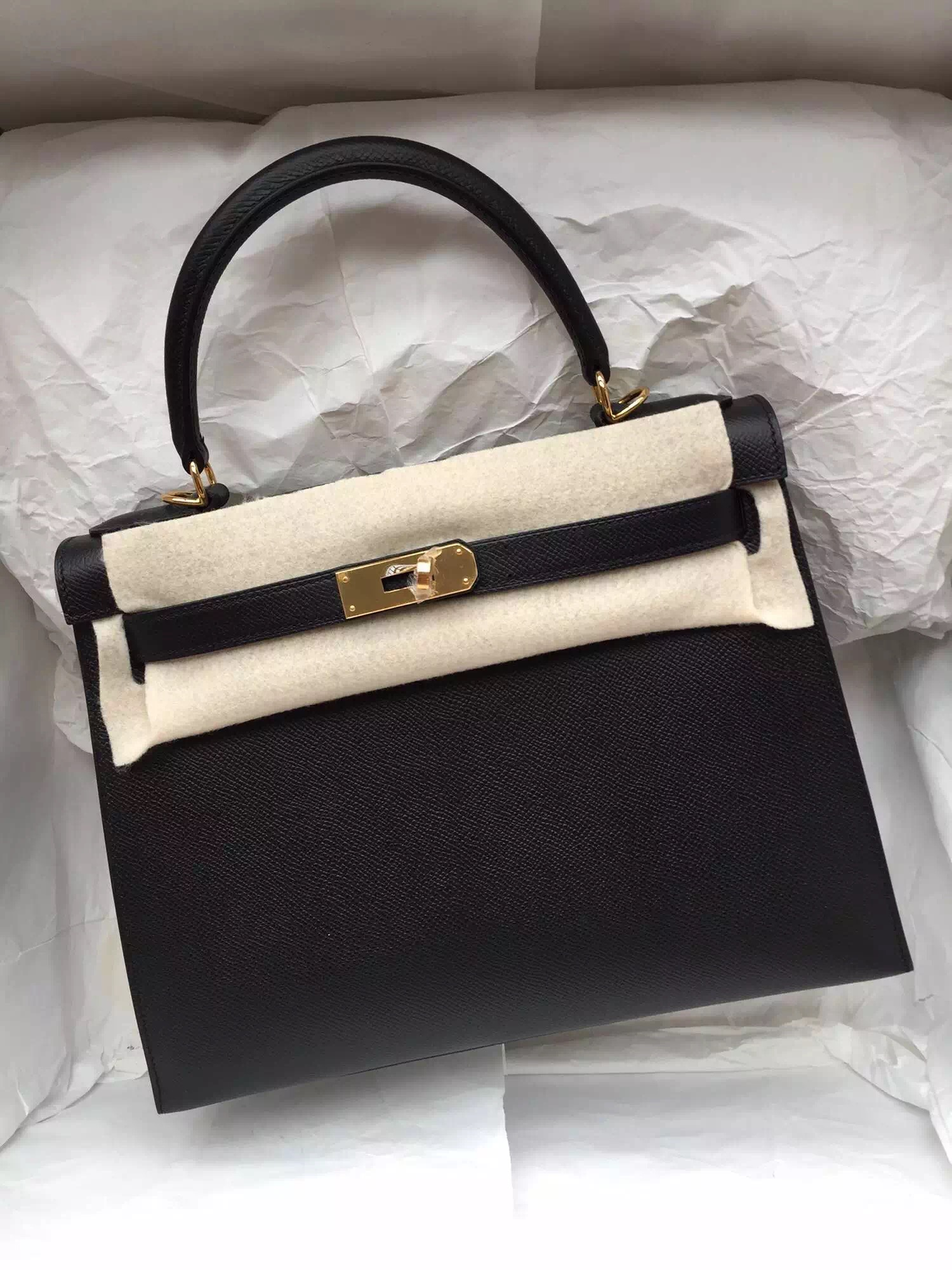 Hand Stitching 28cm Hermes Kelly Bag Black/E5 Rose Tyrien Epsom ...