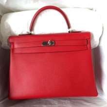 Cheap Hermes Q5 Chinese Red Kelly Bag 35cm Retourne Epsom Leather Tote Bag