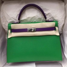 Hermes Kelly Bag Sellier 1K Bamboo Green/9W Ultraviolet Epsom Leather Women's Tote Bag 32CM