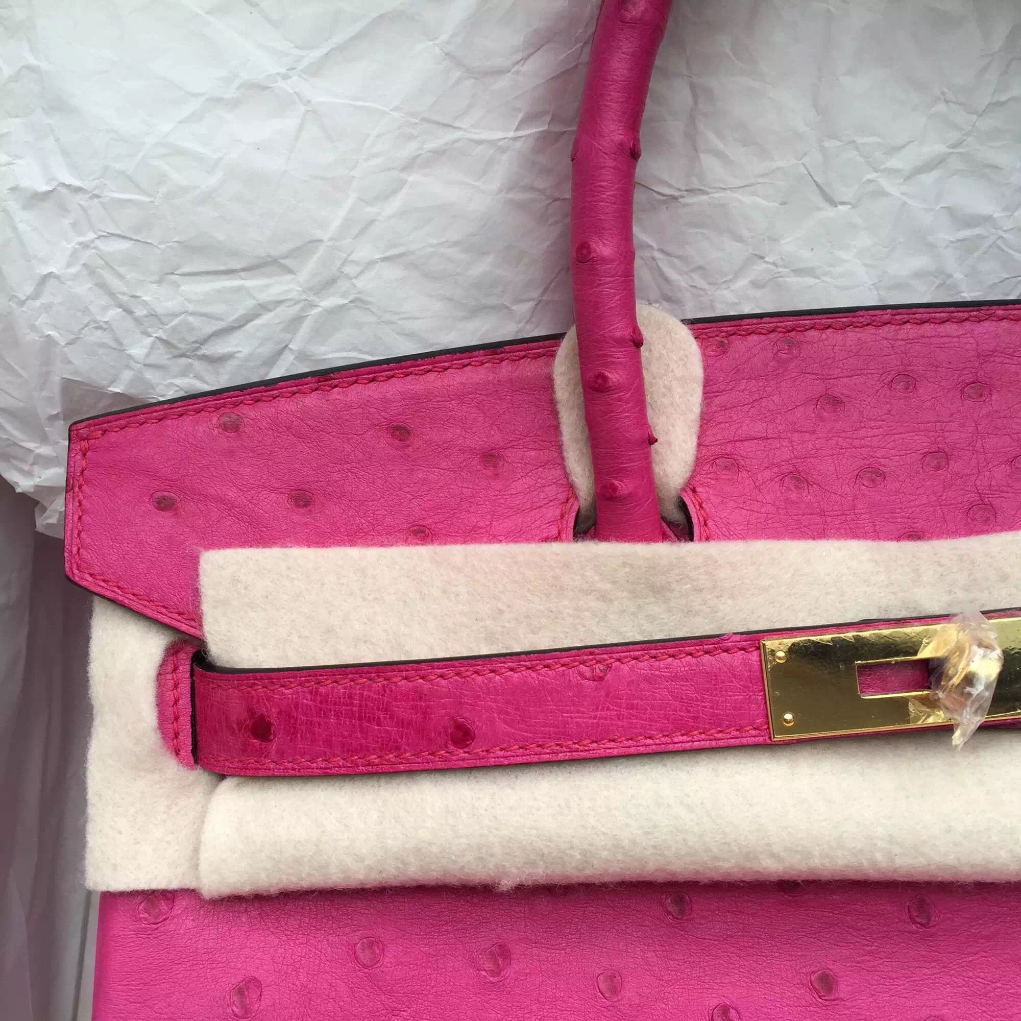 49c166d54572 Hand Stitching Hot Pink Ostrich Leather Hermes Birkin Bag 30CM Gold Hardware