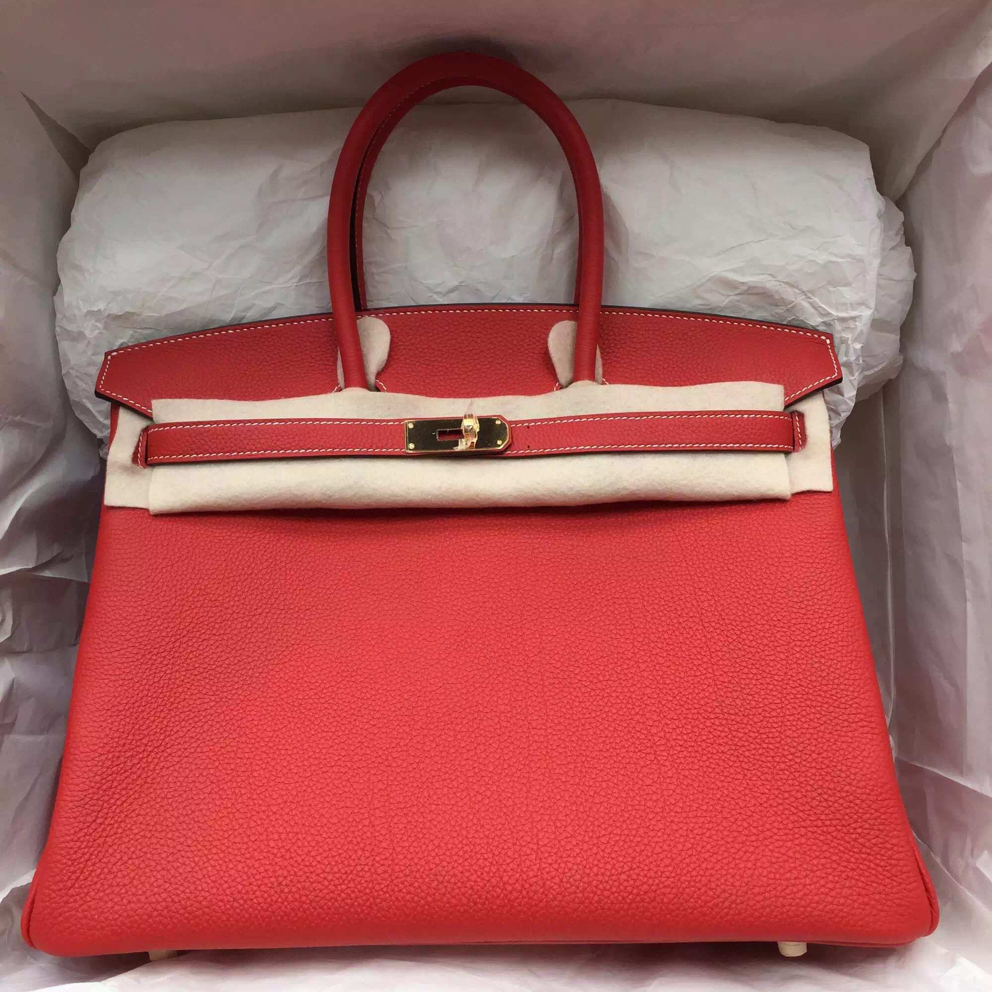 hermes togo red gold hardware satchel geranium