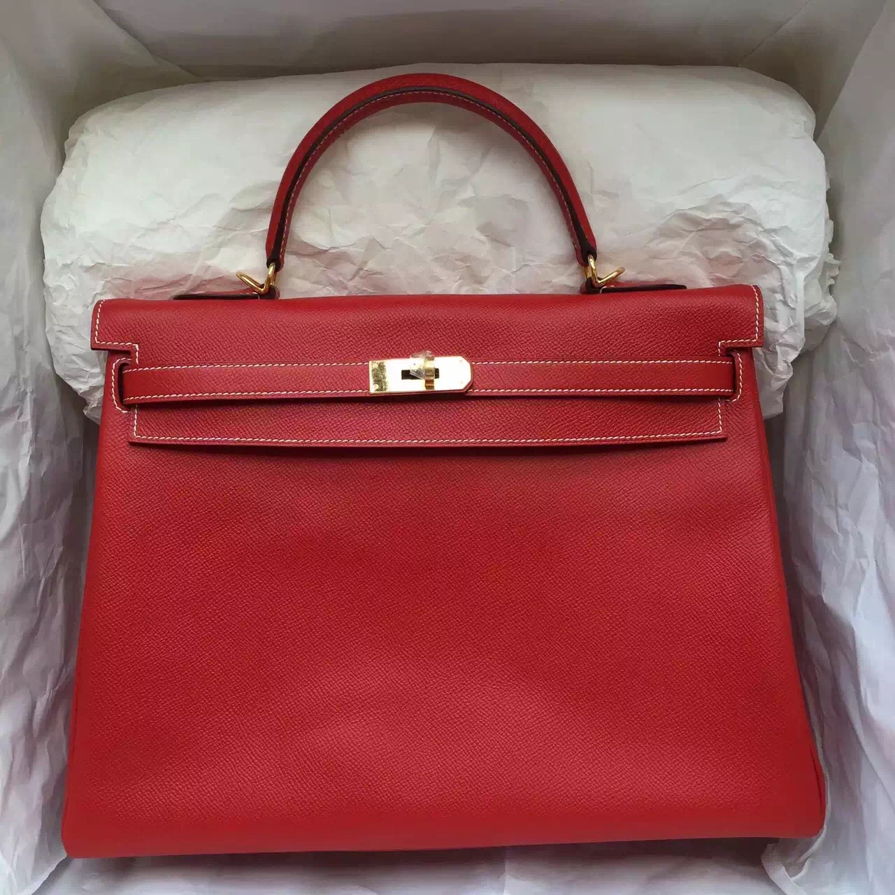 birkin style leather bag - Discount Hermes Kelly Bag 35CM Chinese Red Epsom Leather with ...
