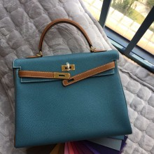 Hand Stitching Hermes Kelly Bag 35CM Blue Jean/Light Coffee Togo Leather Gold Hardware