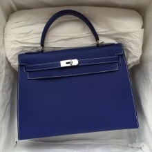 Discount Hermes 7T Blue Electric Sellier Epsom Leather Kelly Bag Handbag 32CM