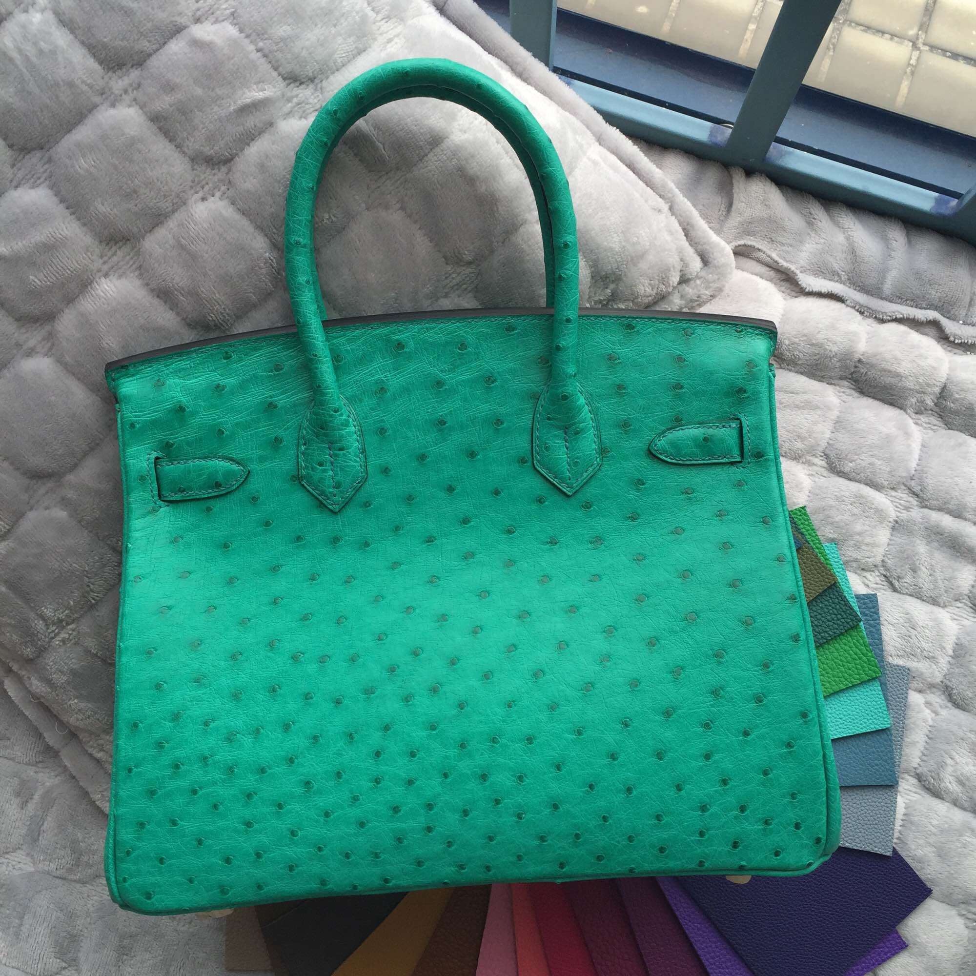 db23493d072c 6Q Emerald Green Ostrich Leather Hermes Birkin Bag 30CM Gold Hardware