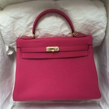 Wholesale Hermes 5R Hot Pink Togo Leather Retourne Kelly32 Gold Hardware