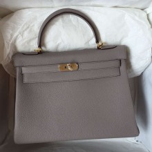 Hermes Kelly Bag 32CM Retourne Light Etain Grey Togo Leather Women's Handbag