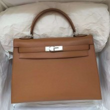 Hand Stitching Hermes Light Coffee Swift Leather Sellier Kelly Bag 32CM