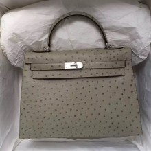 32CM Hermes Ostrich Leather Kelly Bag Sellier in Gris Tourterelle Silver Hardware