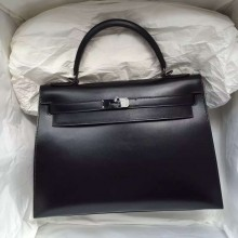 Fashion Hermes Kelly Bag 32CM Sellier Black Box Leather with Black Buckle
