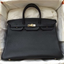 Hand Stitching Hermes Black TC Calfskin Leather Birkin Bag 40CM Women's Handbag