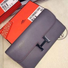 Hand Stitching Hermes Constance Wallet Swift Leather CK18 Etoupe Grey Ladies' Long Purse