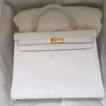 Hermes White Epsom Calfskin Leather Kelly Bag 35CM Retourne Gold Hardware