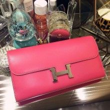 21CM Hermes Silk'in  Constance Long Wallet Fuchsia Pink Swift leather Clutch Bag