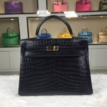 Hot Sale Hermes Kelly Bag 32CM CK89 Black Crocodile Skin Leather Women's Handbag