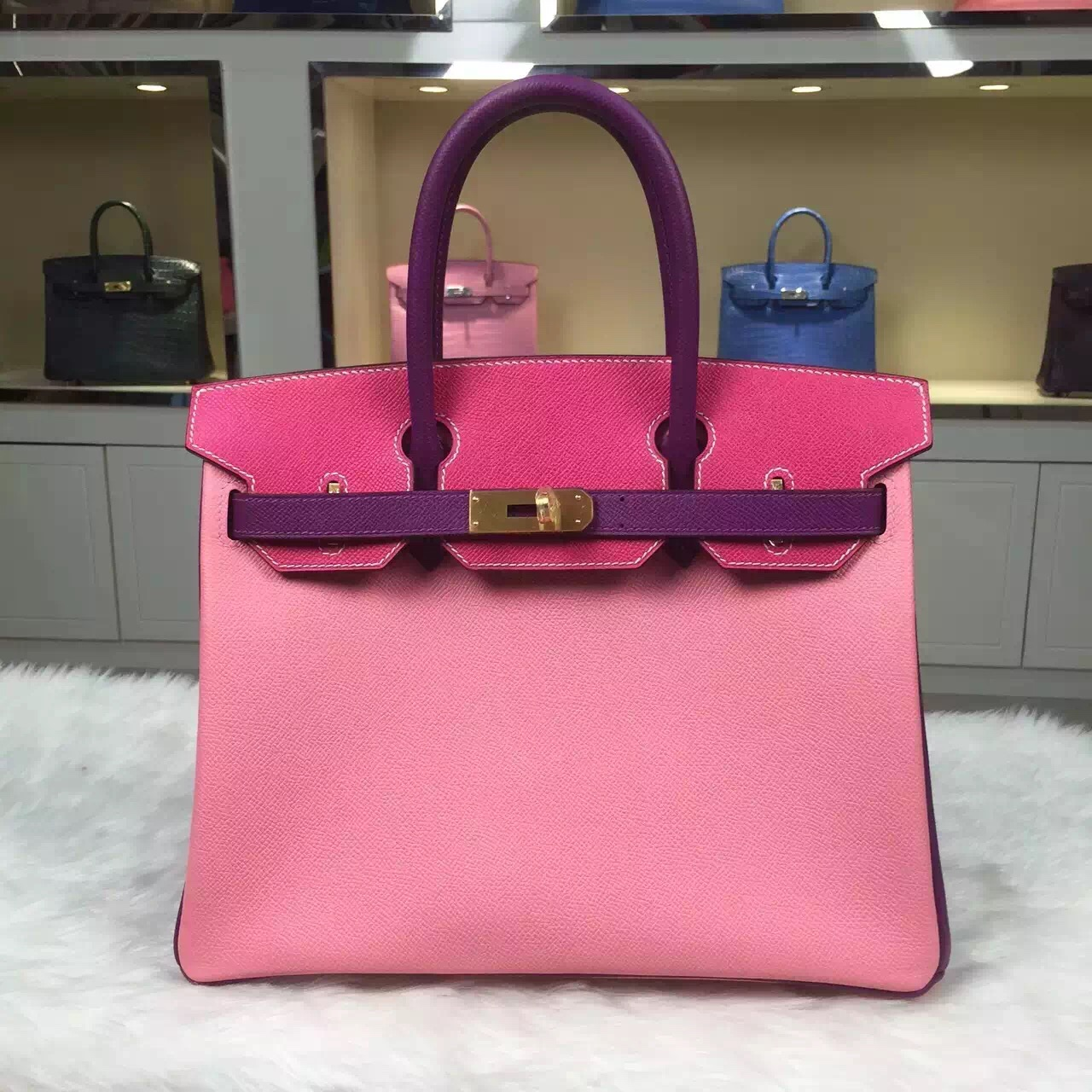 b9ca5e23d11d Hand Stitching Hermes Birkin Bag 30CM Multi-color Epsom Leather Women s  Handbag