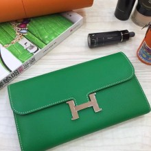 Discount Hermes Original Epsom Leather Bamboo Green Constance Wallet Women's Clutch Bag