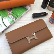 Hot Sale Hermes Coffee Epsom Leather Long Constance Wallet Clutch Bag 21CM