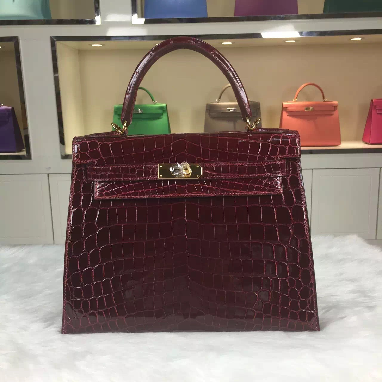 faux birkin - Wholesale Hermes Crocodile Skin Kelly Bag 28CM in F5 Bourgogne Red ...