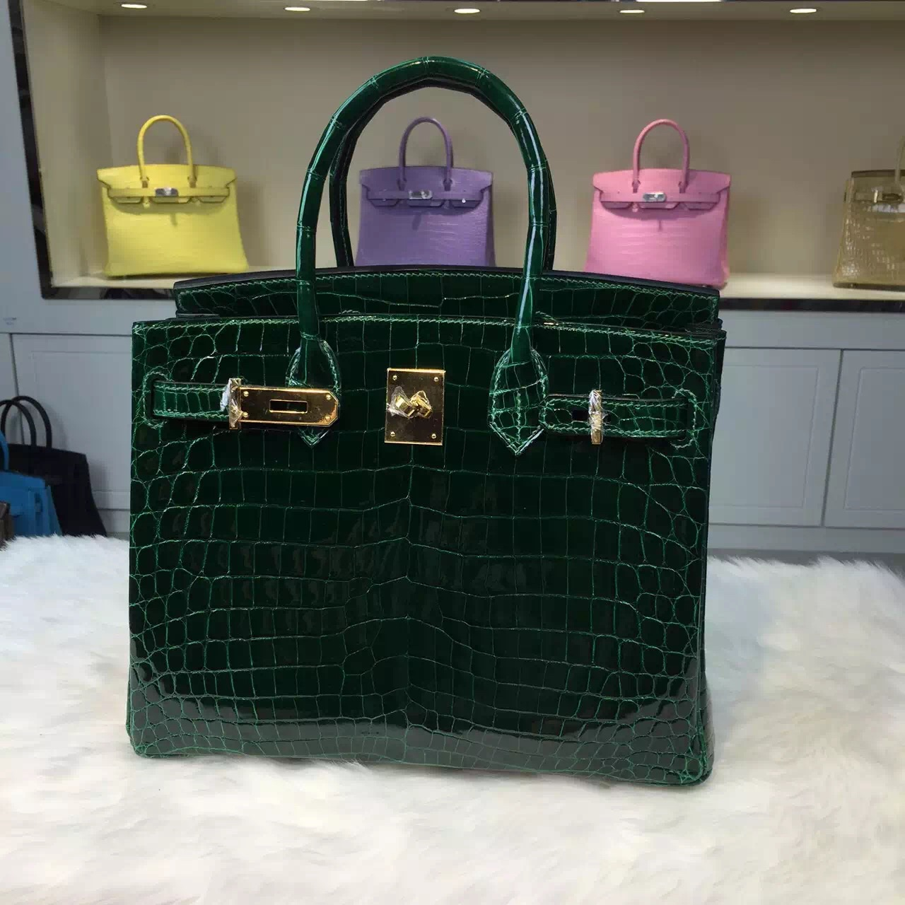 crocodile birkin bag price - Discount Hermes CK67 Emerald Green Original Crocodile Skin Birkin ...