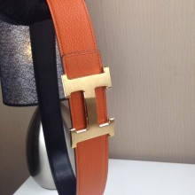 Hermes Litchi grain Orange and black H buckle 3.8CM wide