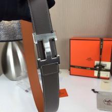 Hermes calfskin four horns brushed gold belt grey and orange Mens 3.8CM wide