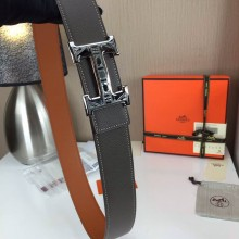 Hermes Men's Carved buckle Khaki and grey 3.8CM wide