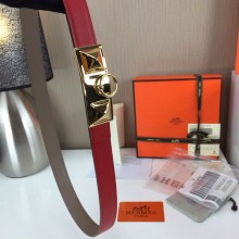 Hermes Women's Trunk buckle Palm prints with red and Plain with grey 2.5CM