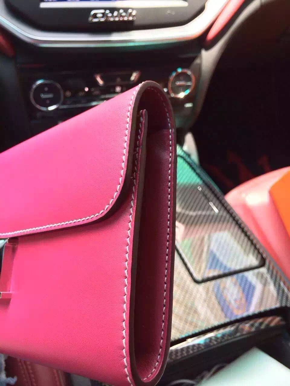 hermes pink leather handbag constance