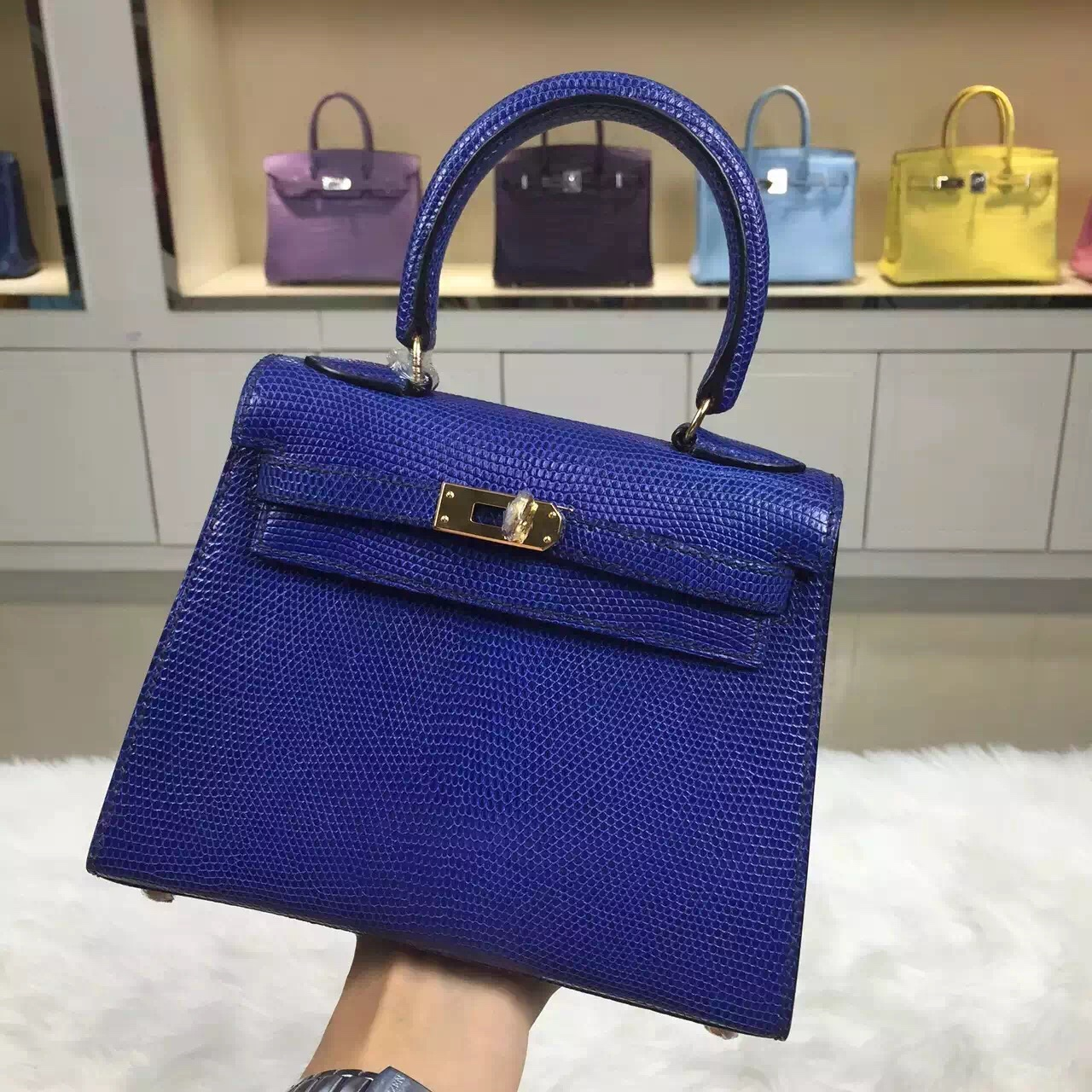 New Fashion Hermes Kelly Bag 20CM Blue Electric Lizard Leather ...