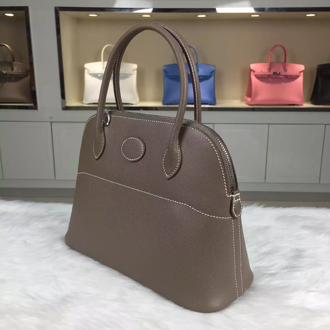 On Line Shopping Hermes C8 Etoupe Grey Epsom Leather Bolide Bag ...