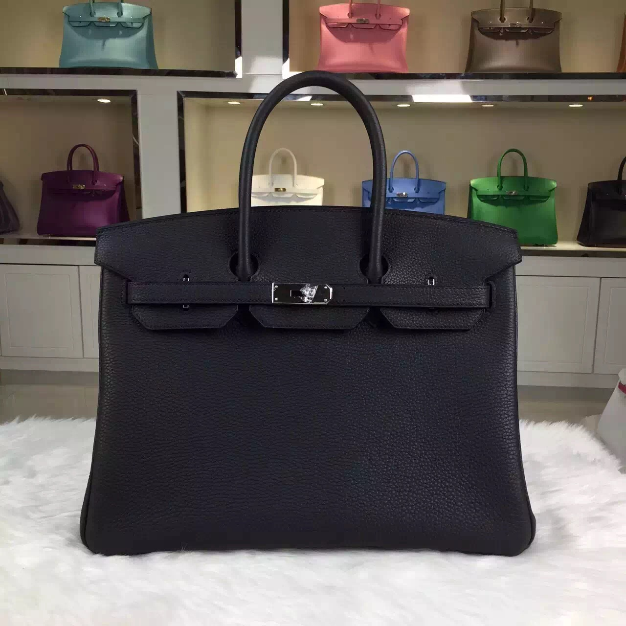 Vip Customized Hermes Birkin Bag 35cm 89 Black Togo Leather Silver Hardware